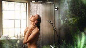 Der Powder-Rain-Strahl, eingesetzt in einer Wellness-Dusche von Hansgrohe.