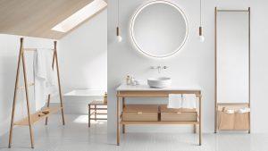 Badeinrichtung mit den Materialien Leder und Holz – die Serie Mya von Burgbad zeigt sich in einem natürlichen, modernen Look.