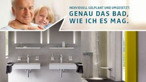 Ein Generationenbad erlaubt es Enkel und Opa gleichermaßen, die Badausstattung bequem zu nutzen.